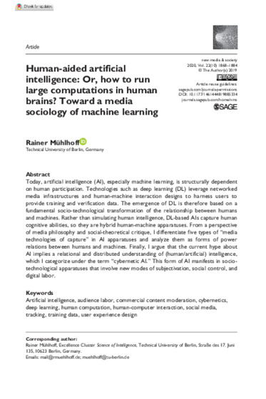"Mühlhoff 2019: ""Human-Aided Artificial Intelligence: Or, How to Run Large Computations in Human Brains?"" New Media & Society OnlineFirst Nov. 2019."